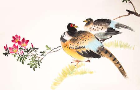 Chinesische Tuschemalerei Vogel- und Pflanzen Standard-Bild - 55968164
