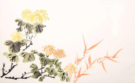Chinese ink mum drawing