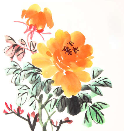 ink drawing: Chinese peony ink drawing