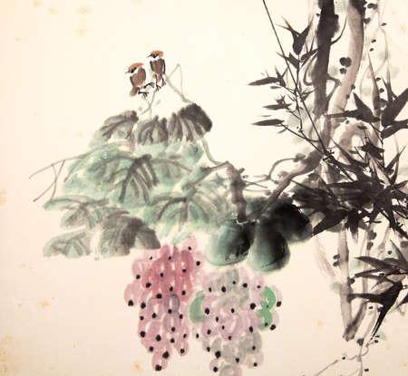 China pájaro pintura de la tinta y de la planta Foto de archivo - 55968165