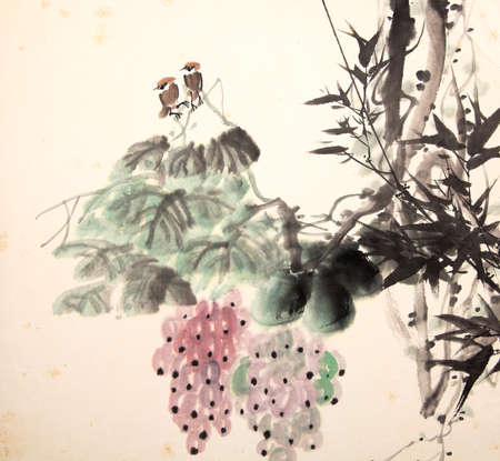 Chinese ink painting bird and plant Stock Photo - 55968165