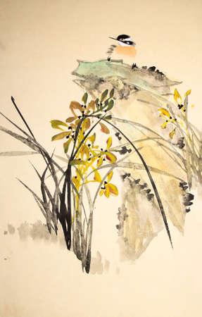 China pájaro pintura de la tinta y de la planta Foto de archivo - 55968166
