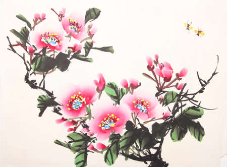 Chinese peony ink drawing