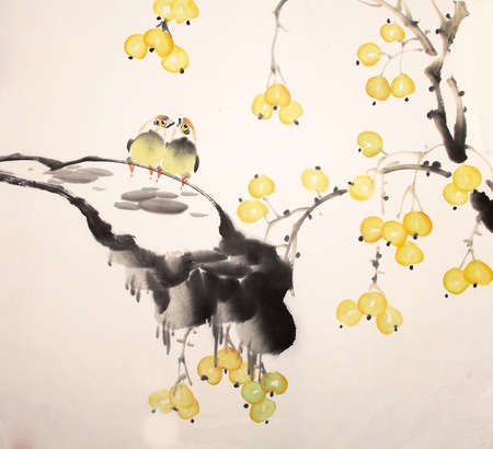 Chinese ink painting bird and plant Banco de Imagens - 55968168