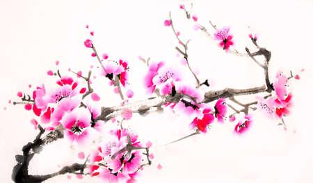 Chiński akwarela malowanie wiśni