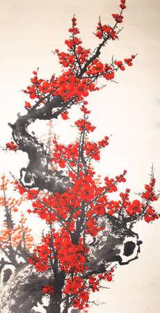 Chinese waterverf cherry schilderen Stockfoto