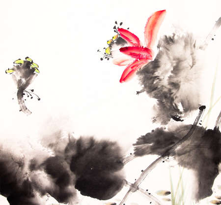 ink painting: ink lotus painting hand drawn Stock Photo