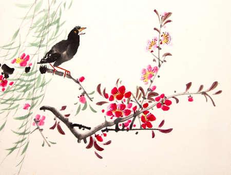 China pájaro pintura de la tinta y de la planta Foto de archivo - 56021323