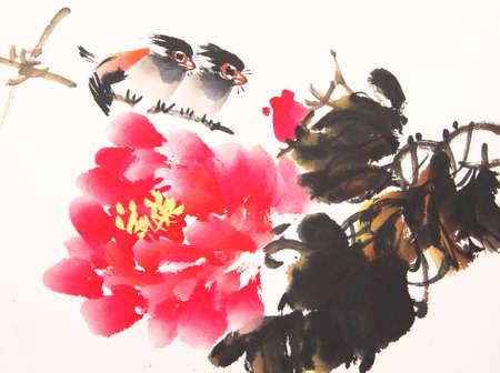 China pájaro pintura de la tinta y de la planta Foto de archivo - 56021325