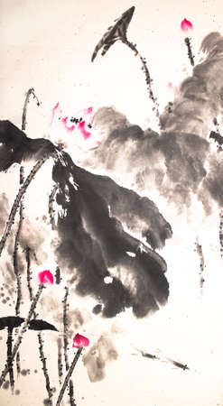 ink lotus painting hand drawn Фото со стока