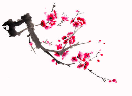 Chinese watercolor cherry painting Stock Photo