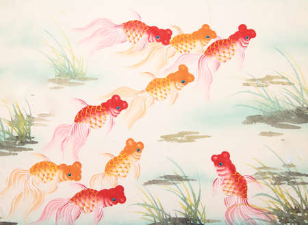 pez dorado: peces de colores de pintura china
