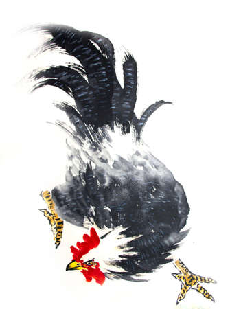 Chinese traditional painting of chicken Stock Photo