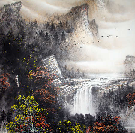 Chinese traditional painting of landscape Archivio Fotografico