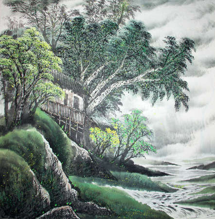 Chinese traditional painting of landscape Stockfoto
