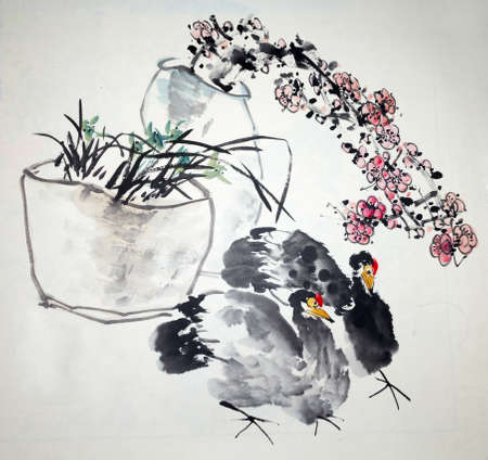 Chinese traditional painting of chicken Banco de Imagens