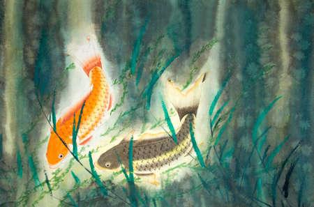 Chinese painting of carp Banco de Imagens
