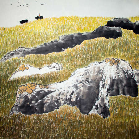 Chinese traditional painting of landscape Banco de Imagens