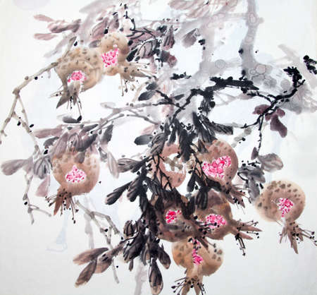 pintura tradicional china de las flores