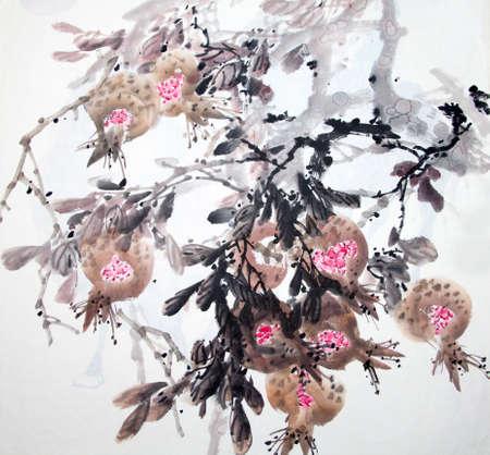 Pittura tradizionale cinese di fiori Archivio Fotografico - 76652393