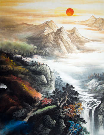 Chinese traditional painting of landscape Standard-Bild