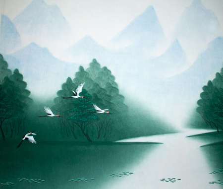 Chinese traditional painting of cranes