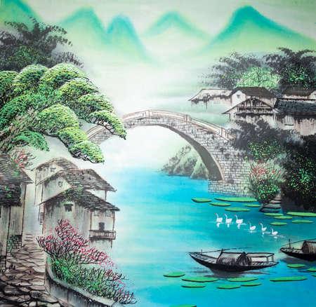 풍경의 중국 전통 그림 스톡 콘텐츠