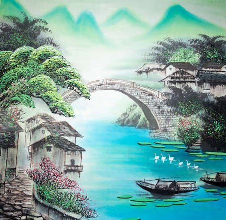 Chinese traditional painting of landscape Imagens