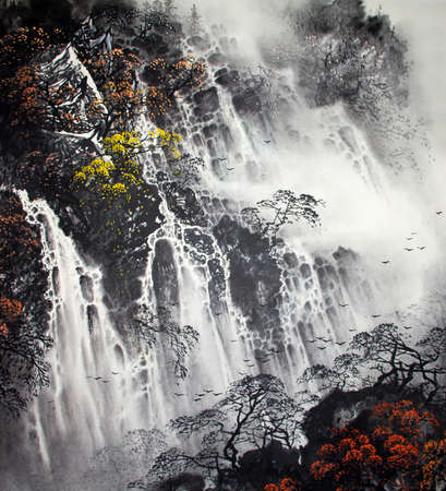 Chinese traditional painting of landscape Stock fotó