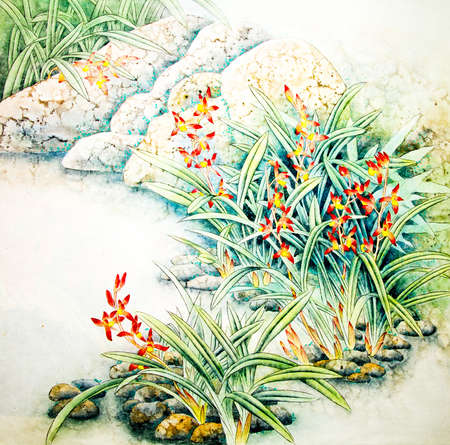 Chinese traditional painting of flowers Standard-Bild
