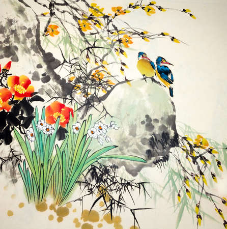 Chinese traditional painting of birds Banco de Imagens - 76652414