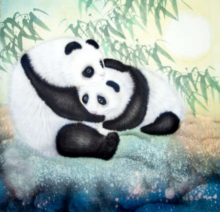 wild asia: Chinese traditional painting of panda Stock Photo