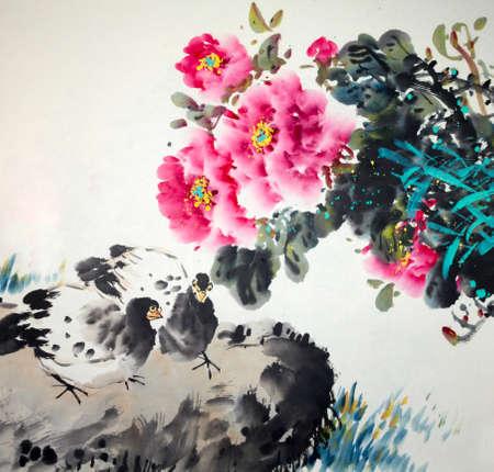 Chinese traditional painting of flowers Zdjęcie Seryjne