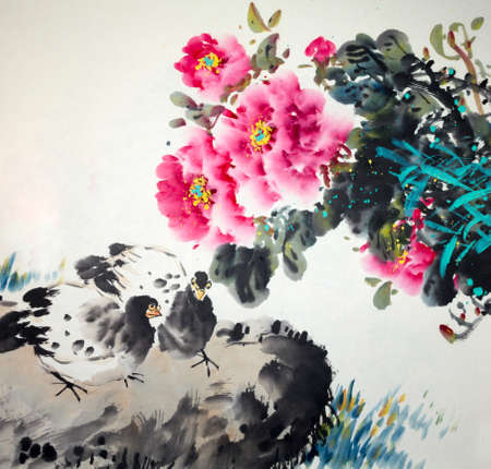 Chinese traditional painting of flowers Archivio Fotografico