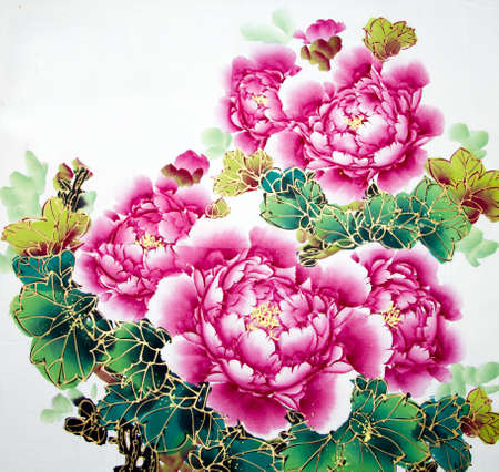 Pintura tradicional china de las flores Foto de archivo - 76652417
