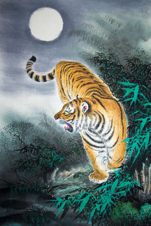 Chinese traditional painting of tiger