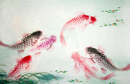 Chinese painting of carp Stock Photo