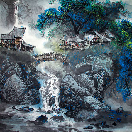 Chinese traditional painting of landscape Zdjęcie Seryjne
