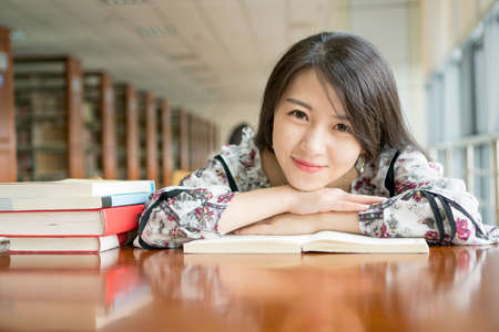 asian girl in library