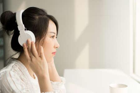 office lady in a headphone