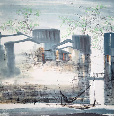 Chinese painting of a building Banco de Imagens