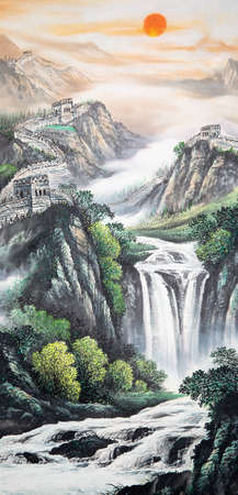 Paintings of a waterfall