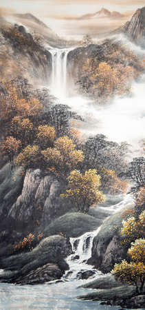 Paintings of mountains and waterfalls Banco de Imagens
