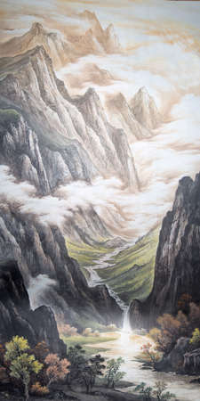Paintings of mountains and a waterfall Banco de Imagens