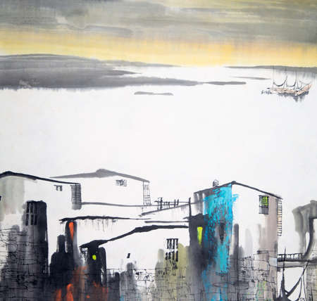 Chinese painting of buildings and scenery