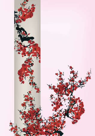 Chinese traditional cherry blossom painting
