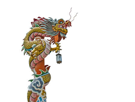 Chinese dragon pillars on the top of a roof isolate on white, Thailand Stock Photo - 9647068