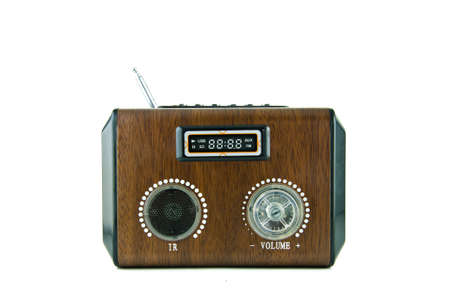 Old retro Wood  radio isolated on white background photo