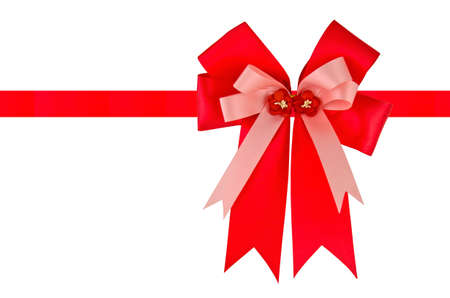 Big red holiday bow on white background Stock Photo - 9820535