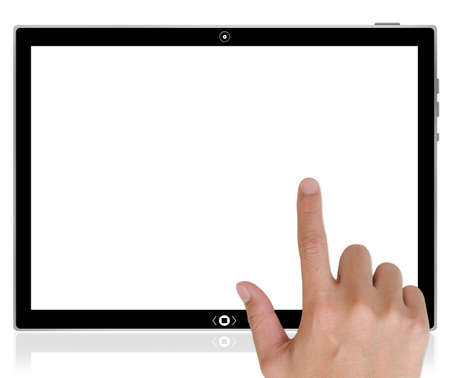 The best PC tablet computer and hand pushing a button on a touch screen interface in wide world.